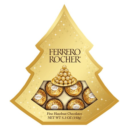 Ferrero Rocher 5.3 oz Hazelnut Chocolates in Tree Gift Box