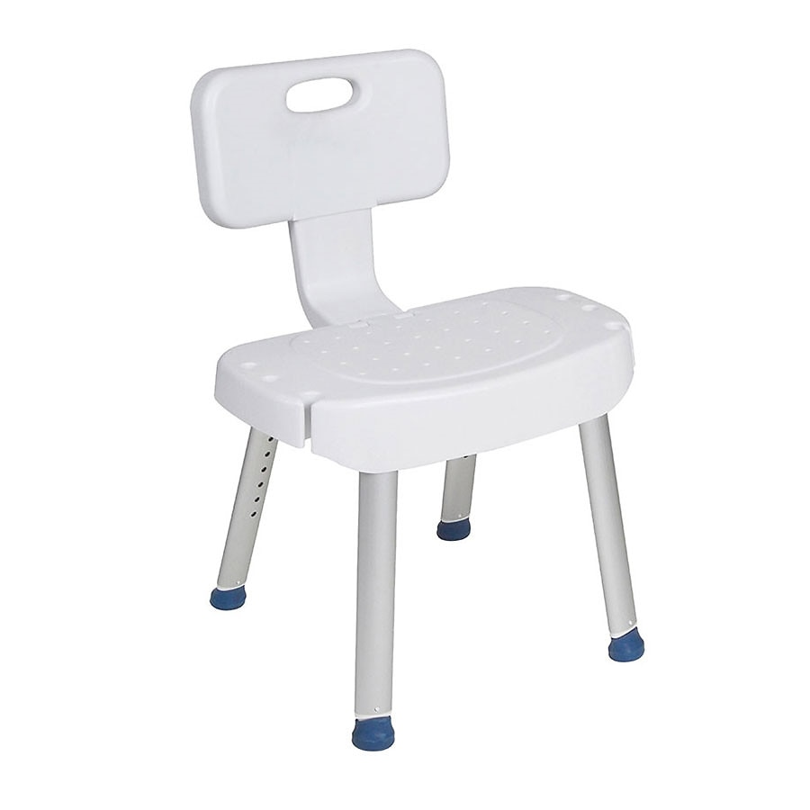 Drive Medical Bathroom Safety Shower Chair with Folding Back White