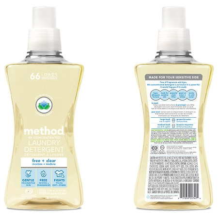 Method Laundry Detergent 4x Concentrated Free + Clear, 53.5 oz - 54 oz.