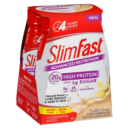 SlimFast Advanced Nutrition High Protein Meal Replacement Shake Vanilla Cream - 11 oz. x 4 pack