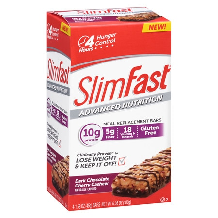 SlimFast Advanced Nutrition 10g Protein Meal Replacement Bar Dark Chocolate Cherry Cashew - 2 oz. x 4 pack