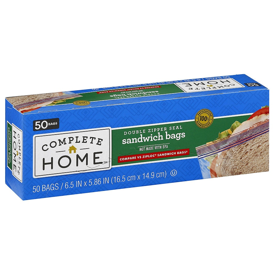 50-Count Nice Resealable Sandwich Bags