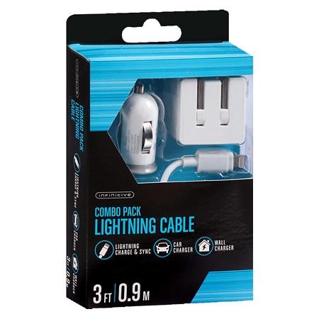 Infinitive Lightning + Wall & Car Combo Pack 3 Foot - 1 ea