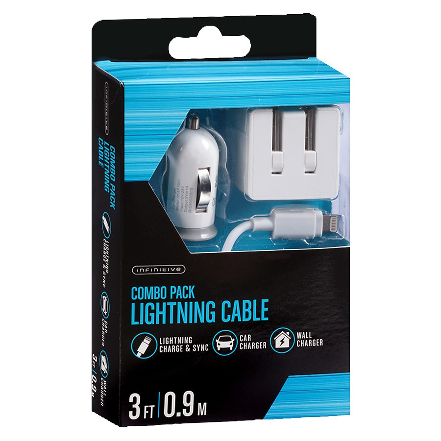 walgreens iphone charger infinitive lightning wall amp car combo pack 3 foot white 13261