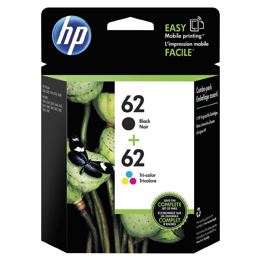 HP Combo Pack Ink Cartridges 62 CVP Black/Tricolor | Walgreens