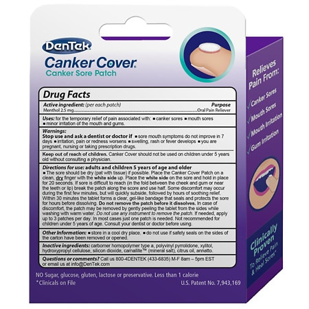 Dentek Canker Cover Canker Sore Patch Mint Walgreens