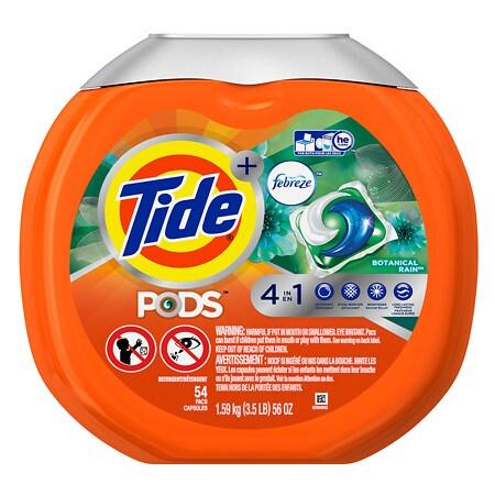 Tide PODS Plus Febreze Laundry Detergent Pacs Botanical Rain - 54 ea