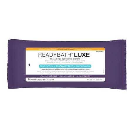 Medline ReadyBath Luxe Total Body Antibacterial Cleansing Washcloths Fragrance Free - 8 ea x 24 pack