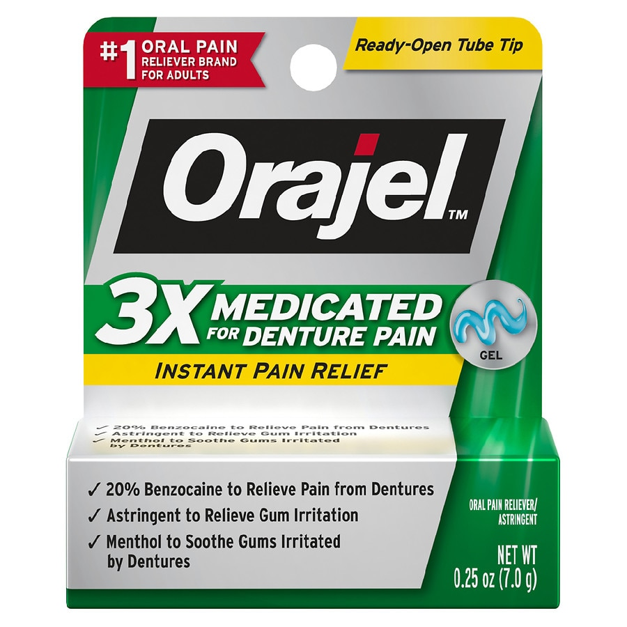 3X Triple Action Burner orajel denture pain gel mint
