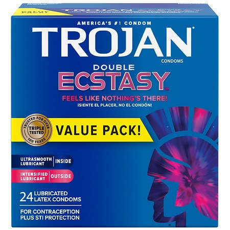 Trojan Double Ecstasy Condoms - 24 ea