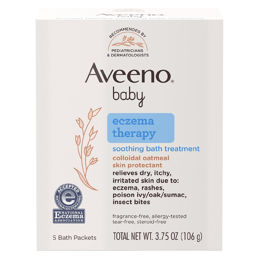 Aveeno Baby Eczema Therapy Soothing Bath Treatment With Natural Oatmeal  Single Use Packets