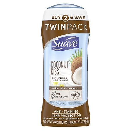 Suave Antiperspirant Deodorant Coconut Kiss, Twin Pack - 2.6 oz. x 2 pack