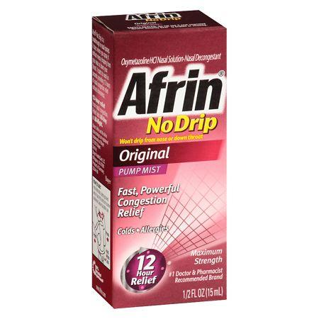 Afrin 12 Hour Nasal Spray No-Drip Pump Mist Original - 0.5 oz.
