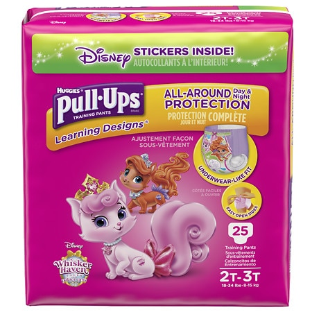 Huggies Pull-Ups Learning Designs Training Pants for Girls Size 2T-3T - 25 ea