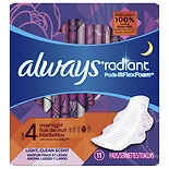 Always Radiant Infinity Pads With Wings Overnight Light Clean Scent