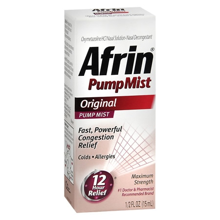 Afrin 12 Hour Nasal Spray Pump Mist Original - 0.5 oz.