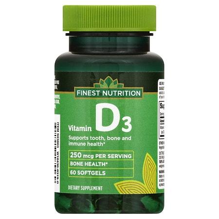 Finest Nutrition Vitamin D 10000 IU Softgels - 60 ea