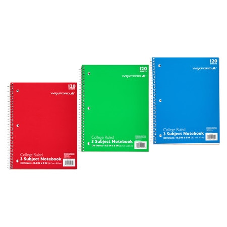 Wexford 3 Subject College Ruled Notebook Assortment - 120 sh