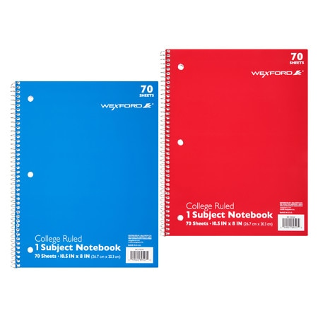 Wexford 1 Subject College Ruled Notebook Assortment - 70 sh