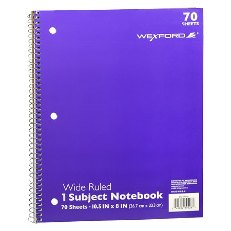 Wexford 1 Subject Wide Ruled Notebook Assortment - 70 sh