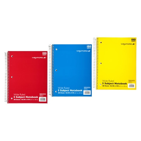 Wexford 5 Subject Wide Ruled Notebook Assortment - 180 sh