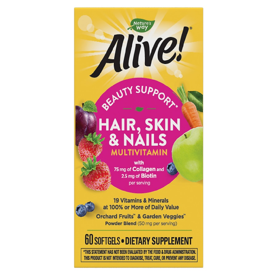 Nature\'s Way Alive Hair/Skin/Nails Multi-Vitamin Softgels Strawberry ...
