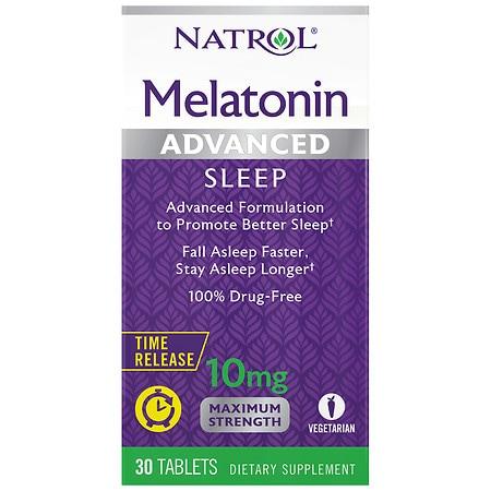 Natrol Advanced Sleep Melatonin 10 mg Time-Release Tablets - 30 ea