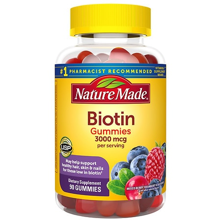 Nature Made Biotin 3000 Mcg Adult Gummies Mixed Berry Cranberry Blueberry