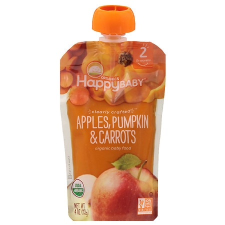 Happy Baby Clearly Crafted Baby Food Apple/Pumpkin/Carrot - 4 oz.