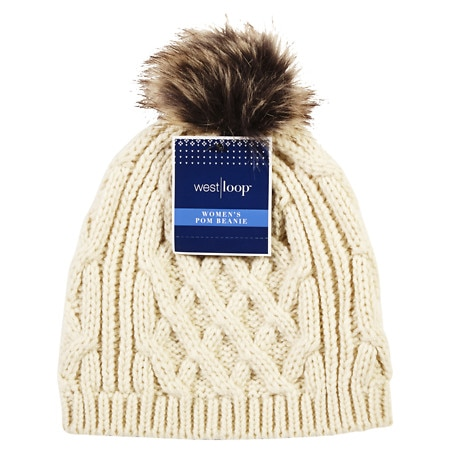 West Loop Women's Knit Beanie With Pom Assortment - 1 ea