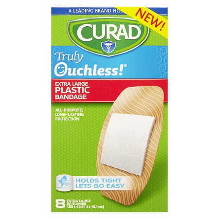 Curad Truly Ouchless Bandages, Plastic 1.65 in x 4 in - 8 ea