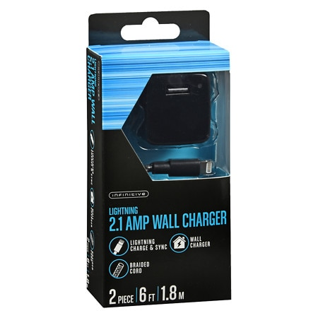 Infinitive 2.1 Wall Charger Lightning Braided 6 Foot - 2 ea