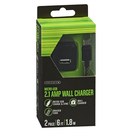 Infinitive 2.1 Wall Charger Micro Braided 6 Foot - 2 ea