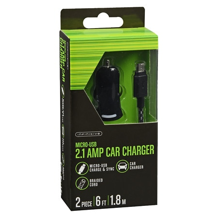 Infinitive 2.1A Car Charger Mic Cable Braided 6 Foot - 2 ea
