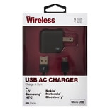 Just Wireless A/ C Charger USB Micro USB 1A 04168 Black