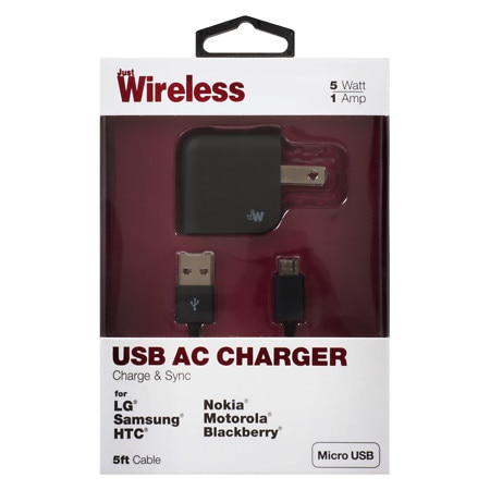 Just Wireless A/C Charger USB Micro USB 1A 04168 - 1 ea