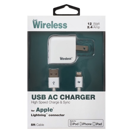 Just Wireless A/C Charger USB Apple Lightning 2.1A 04167 - 1 ea