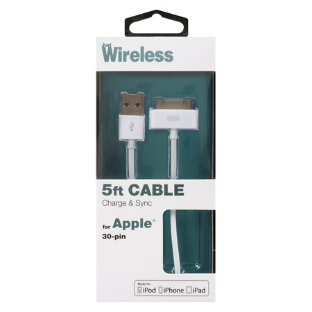 Just Wireless Charge/Sync Cable Apple 30 Pin 5 Foot 05037 - 1 ea