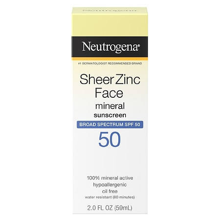 Neutrogena Sheer Zinc Dry-Touch Face Sunscreen With SPF 50 - 2 fl oz