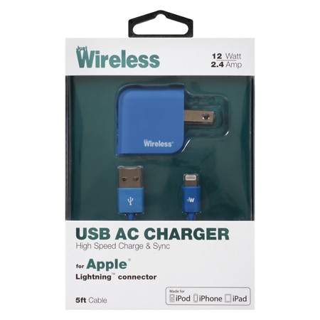Just Wireless A/C Charger USB Apple 8 Pin 2.4A 04171 - 1 ea