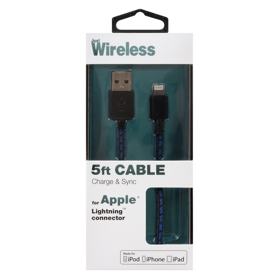 82d35a3a26ad38 ... Black1 0 Ea. Just Wireless Sync Charge Braided Cable Le 8 Pin 6 Foot  05035