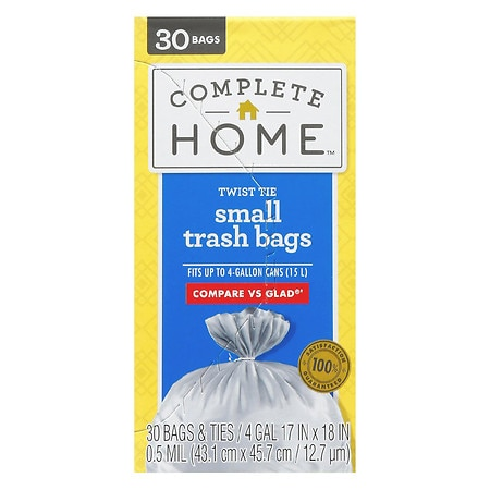 Nice! Small Trash Bags 4 Gallon 30 Ea