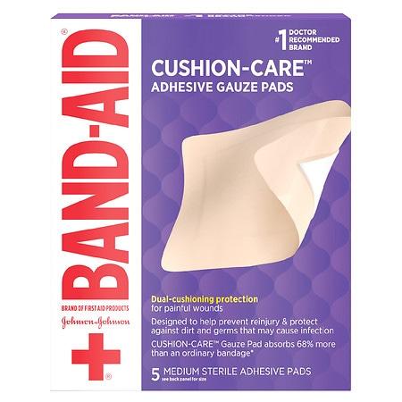 Band-Aid Adhesive Gauze Pads Medium - 5 ea