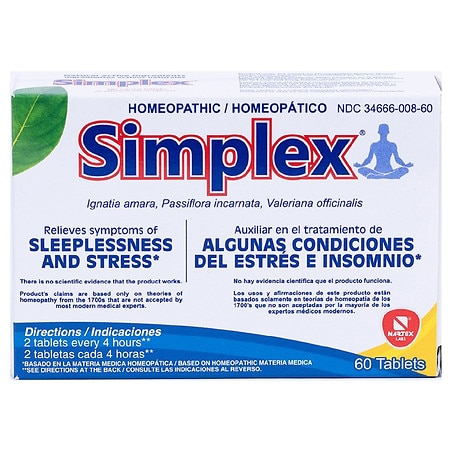 Simplex Homeopathic Stress & Sleeplessness Tablets - 60 ea