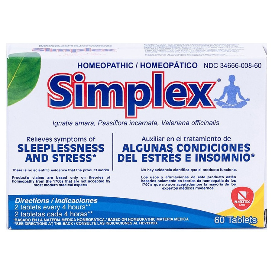 Simplex Homeopathic Stress & Sleeplessness Tablets | Walgreens