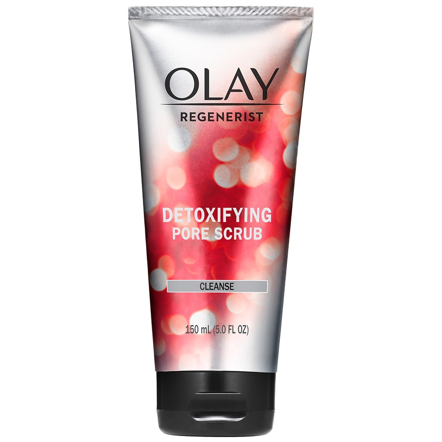 OLAY Regenerist Dextoxifying Pore Scrub 6.50 oz (Pack of 4) Anti-Aging & Wrinkle Care 24k Gold Collagen Eye Patch Pads For Women
