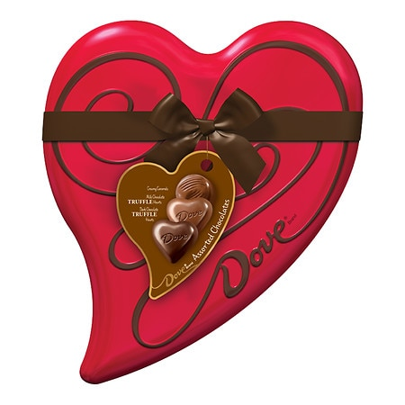 Dove Valentine's Assorted Chocolate Candy Tin Heart - 7 oz.