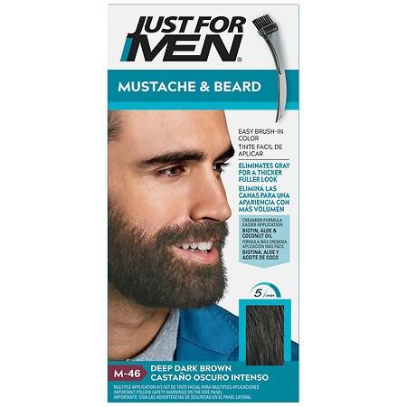 Just For Men Mustache & Beard Brush-In Color Gel, Deep Dark Brown M-46