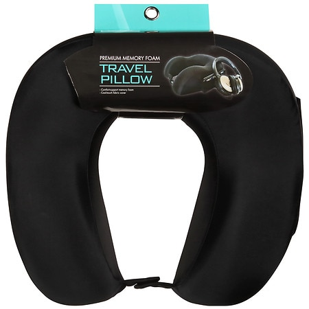 living solutions premium memory foam neck pillow black - Memory Foam Neck Pillow