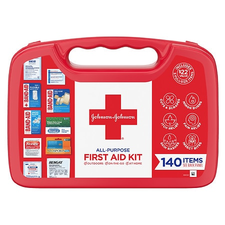 Johnson & Johnson First Aid Kit 140 Piece - 1 ea